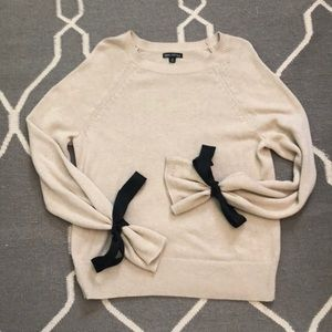 J. Crew sweater with black ribbons on the sleeves